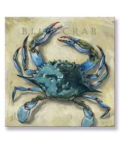 Darren Gygi Home Collection Blue Crab Gallery-Wrapped Canvas | zulily