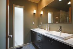 Espresso Vanity With Double Sinks And Frosted Glass
