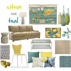 Citron and Teal Room - cute living room colors Teal Rooms, Teal Living Rooms, Living Room On A Budget, New Living Room, My New Room, Living Room Decor, Salons Cosy, Decoration Design, Home Decor Inspiration
