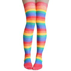 Chrissy's Socks Women's Golden Rainbow Striped Thigh High Socks at... ($12) ❤ liked on Polyvore featuring intimates, hosiery, socks, wide socks, thigh high socks and thigh high hosiery