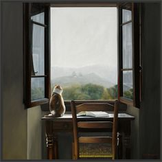 An open window! Window View, Open Window, Window Desk, Cat Window, Window Art, Karen O'neil, Through The Window, Oeuvre D'art, Windows And Doors