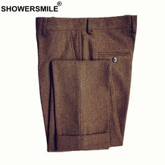 e4b43f82 SHOWERSMILE Classic Men's Pants Tweed Mens Wool Trousers Brown Woolen Thick  Warm Suit Pant For Winter