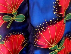 KIWIANA. New Zealand HANDPAINTED ICONIC POHUTUKAWA SILK SCARF satherleysilks NZ HAND MADE GIFT