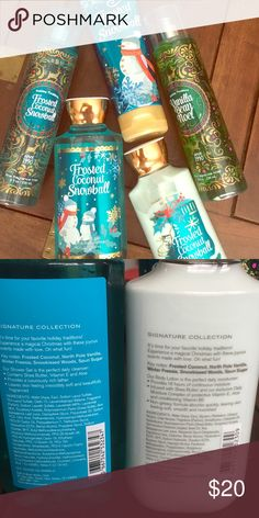 5 Bath & Body Works Holiday Traditions Products Frosted Coconut Snowball shower gel 10 fl oz, body lotion 8 fl oz, body cream 8 oz, fragrance mist 8 fl oz. and Vanilla Bean Noel fragrance mist 8 fl oz. These have never been used. Bath & Body Works Other