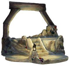 "Snow White Mine Scene - Jewel Mine Base $99 Stands 9 3/4"" tall. Pewter lantern."