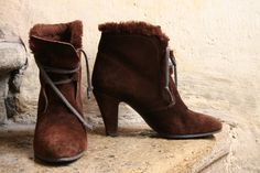 b73fe8fb0e8b Items similar to FREE shipping - french lace up princess brown suede split  leather booties Gevrise 37 EU or 6.5 7 US - 80 s with synthetic fur on Etsy