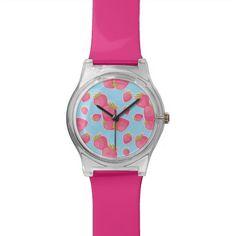 Whimsical Strawberry Pattern on Blue Wristwatch