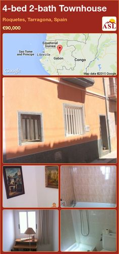 Townhouse for Sale in Roquetes, Tarragona, Spain with 4 bedrooms, 2 bathrooms - A Spanish Life Townhouse, Spanish, Lounge, Bathroom, Bed, Life, Airport Lounge, Washroom, Terraced House