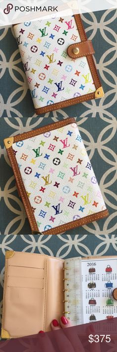 Authentic Louis Vuitton White Monogram Agenda Authentic Louis Vuitton monogram agenda. Vintage monogram print, this agenda comes complete with LV ruler, custom made calendars for 2016 & 2017, things to do pages, miniature notepad paper, credit card pouch and miniature pen. The agenda has slots for 3 credit cards and a back slot. Snap front closure. Gold corner accents. I will ship within 24 hrs. Excellent condition! No trades please! If you have questions, please comment below 👇🏻 or make…