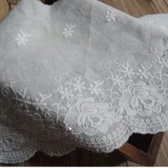 5Yards Cotton Cloth Embroidery Lace Wedding Bridal Veils Craft Lace Width 7.2 cm