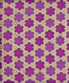 "Vanderhurd ""Petit Prisme"" in Fuschia & Saffron on Natural 1 Magenta, Purple Yellow, Pink, Satin Stitch, Cotton Thread, Midnight Blue, Scrapbook Paper, Custom Design, Textiles"