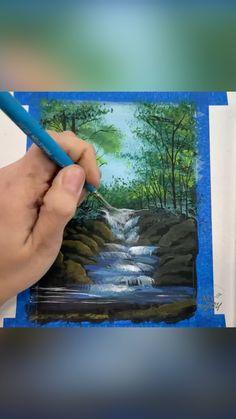 Canvas Painting Designs, Canvas Painting Tutorials, Art Painting Gallery, Diy Canvas Art, Acrylic Painting Canvas, Painting Techniques, Watercolor Landscape Tutorial, Watercolor Art, Guache