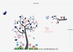 Muursticker boom en tak met uilen vogels vogelhuis door Stickerkamer