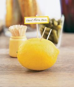 Collect used toothpicks at a party so you don't end up with them all over your tables, seats, and floors. (Stick one in the lemon ahead of time to give guests the hint.)