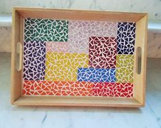 Mosaic Tray, Mosaic Tile Art, Mosaics, Japanese Furniture, Square Tray, Mosaic Projects, Wood Tray, Garden Gifts, Home Gifts