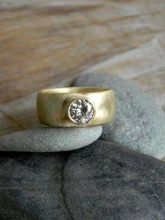 Diamond Engagement Ring white gold chunky carat Chunky Gold Engagement Ring Round Moissanite Wide Band Ring Polished and Hamm.