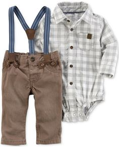 Sophisticated and stylish, this delightful set pairs a plaid shirt-inspired bodysuit with twill pants and removable elastic suspenders. | Boys | Toddler | Baby | Outfits | Family Photos | Clothes | Fashion | Stylish |