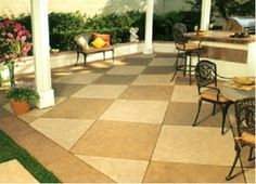 Stained Concrete Patio Ideas for Your House. The floor is the last part to be completed when building a house. Even so, the selection of concrete patio floor can not be underestimated. The select. Steel Pergola, Pergola With Roof, Diy Pergola, Pergola Kits, Pergola Plans, Pergola Ideas, Concrete Porch, Concrete Floors, Outdoor Rooms