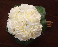Elegant Rose White Peony Bouquet Wedding by HandcraftsInStudio