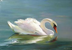 swan, bird, painting, neshkovaart, лебедь