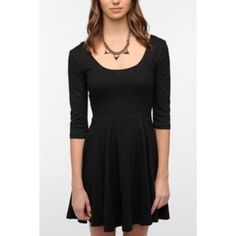 Sparkle And Fade 3/4 Sleeve Knit Skater Dress