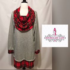 """LAST 3XHeather Grey Plaid cowl neck Tunic Heather Grey Plaid cowl neck Tunic Adorable with leggings & boots! Red Madras Plaid cowl neck with peek through sleeves and bottom hem The look of two shirts in one❤️lightweight terry Heather grey body, hacci plaid. New boutique item, no tags  Size 3X fits 22/24 Bust 25"""" across, approx 37"""" long 60% polyester, 40% cotton PRICE FIRM UNLESS BUNDLED ~ Create a bundle for 15% off! Thank you for Looking!  Never paypal, no trades Hourglass Lady Tops Tunics"""