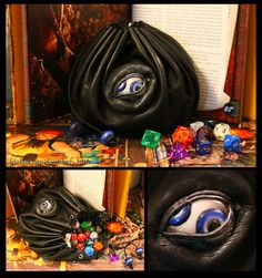The pouch is made out of genuine goat leather. The eye and cord beads are handmade out of black, white and blue polymer clay (fimo) and enhanced with marabu acrylic paint.