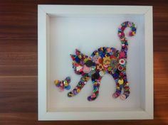 Framed Cat and Butterfly Button Art