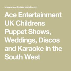 Ace Entertainment UK Childrens Puppet Shows, Weddings, Discos and Karaoke in the South West