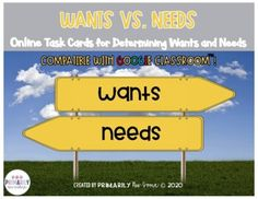 Wants Vs. Needs (Online Learning Task Cards for Determining Wants and Needs )