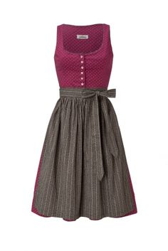 This beautiful, traditional Bavarian Dirndl dress made of cotton has a button border under the neck line at the front side of the Dirndl. The length of the skirt is 60 cm. The Dirndl comes with the appropriate apron. The Dirndl Blouse is...