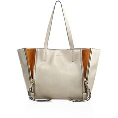 Chloé Women's Leather & Suede Zip-Trim Tote ($1,250) ❤ liked on Polyvore featuring bags, handbags, tote bags, handbags - chloe handbags, motty grey, gray leather tote, zippered leather tote, leather purses, leather tote handbags and leather tote
