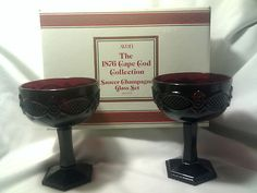 Champagne Glass Ruby Red Glass-Avon-1876 Cape Cod