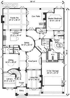 Mediterranean Style House Plan - 4 Beds 3.5 Baths 4923 Sq/Ft Plan #135-166 Floor Plan - Main Floor Plan - Houseplans.com