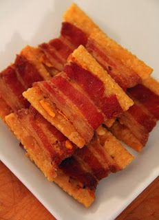 Bacon and Cheddar Wrapped Crackers