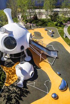 Children's Discovery Center of COB Wangjing Mansion by L&A Design – mooool Park Playground, Playground Design, Backyard Playground, Backyard For Kids, Design D'espace Public, Landscape Architecture, Landscape Design, Kindergarten Design, Parcs