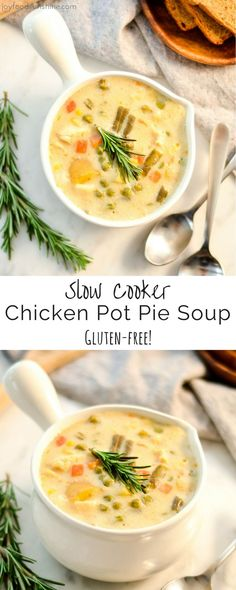 This lightened-up Slow Cooker Chicken Pot Pie Soup only takes 10 minutes of prep! This recipe is made from scratch {NO canned soups} and sure to please even the pickiest eaters! Plus it's gluten-free!