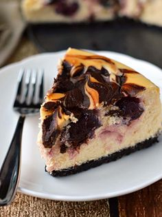 Chocolate covered cherry cheesecake: Chocolate pecan crust with cherries and melted chocolate swirled in.