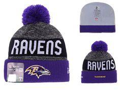 067e3943d Men s   Women s Baltimore Ravens New Era NFL 2016 Sideline Sports Knit Pom  Pom Beanie Hat - Grey   Purple   Black
