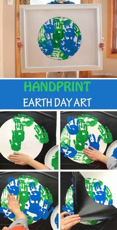 Handprint Earth Day art project for kids. Perfect Earth Day classroom craft for toddlers and preschoolers.