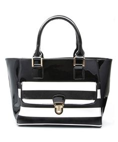 This Black & White Kate Patent Tote by Elise Hope is perfect! #zulilyfinds