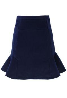 { Navy Frill Hem Wool Felt Skirt }