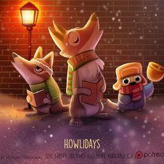 Daily Paint Howlidays christmas by Piper Thibodeau Cute Animal Drawings, Animal Sketches, Kawaii Drawings, Cute Drawings, Animal Puns, Animal Food, Chibi, Arte Disney, Cute Doodles