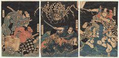 Earth Spider Attacking Raiko, circa 1820 by Kuniyoshi (1797 - 1861)