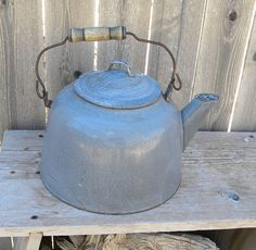 Tea Kettle vintage camp kettle graniteware by TreasuresFromTexas, $40.00