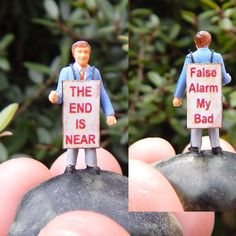 Tiny Terrarium People Fairy Garden Accessory Diorama Ho Scale Funny Man with Sandwich Board Sign Handcrafted