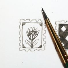 Happiness is... illustration, design, hand lettering - protea postage stamp