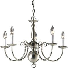 Progress Lighting Americana Collection 5-Light Brushed Nickel Chandelier-P4346-09 - The Home Depot