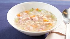 Try this easy hearty soup made with ham, navy beans and veggies. Add crusty bread or a salad, and dinner is ready in about half an hour!