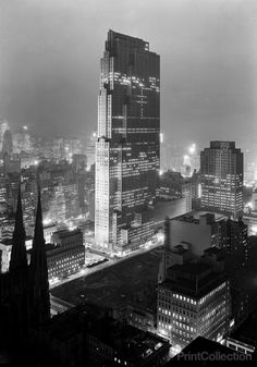 Rockefeller Center and RCA Building from 515 Madison Ave. Photographed by Samuel H. Gottscho on December 5th 1933 on larrge format 5x7 film.